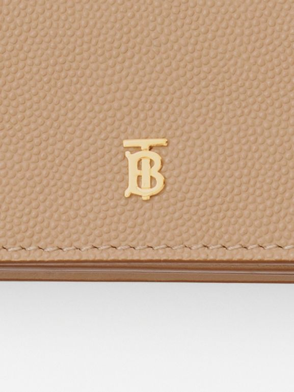 Grainy Leather Card Case with Detachable Strap in Archive Beige - Women | Burberry Australia - cell image 1