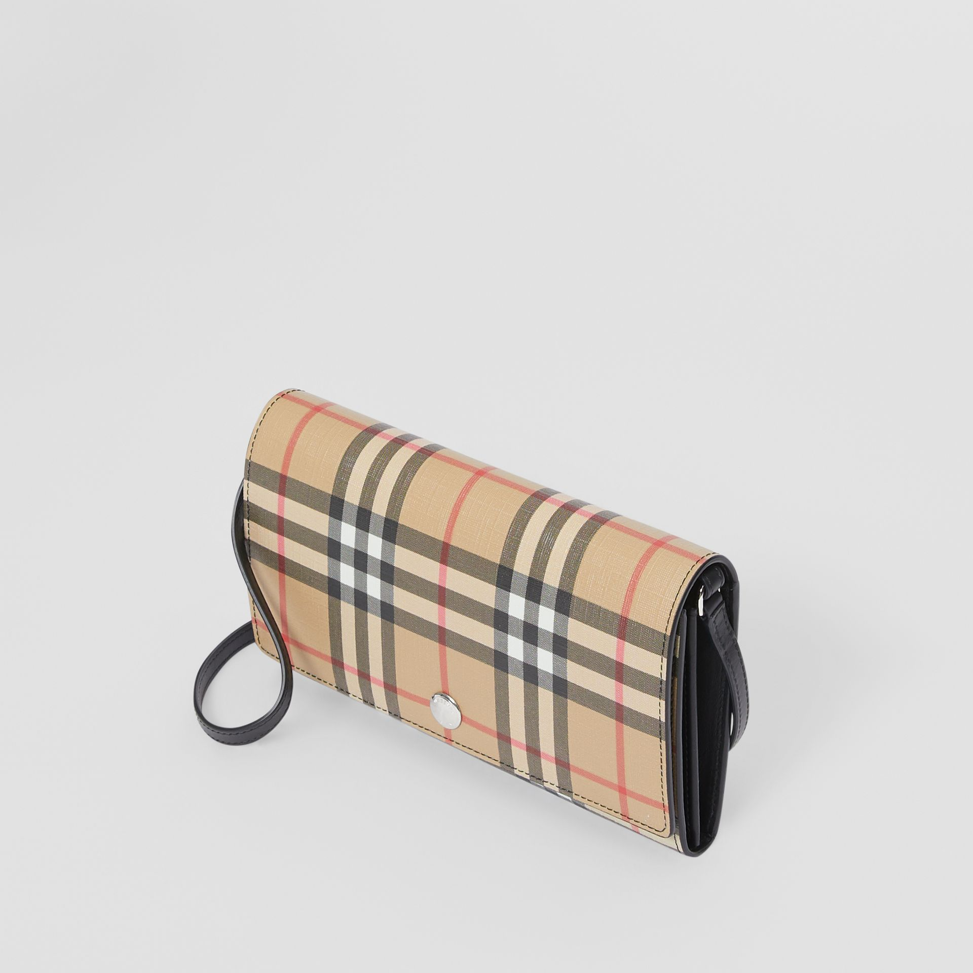 Vintage Check E-canvas Wallet with Detachable Strap in Black - Women | Burberry Canada - gallery image 3