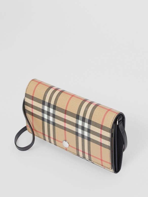 Vintage Check E-canvas Wallet with Detachable Strap in Black - Women | Burberry Canada - cell image 3