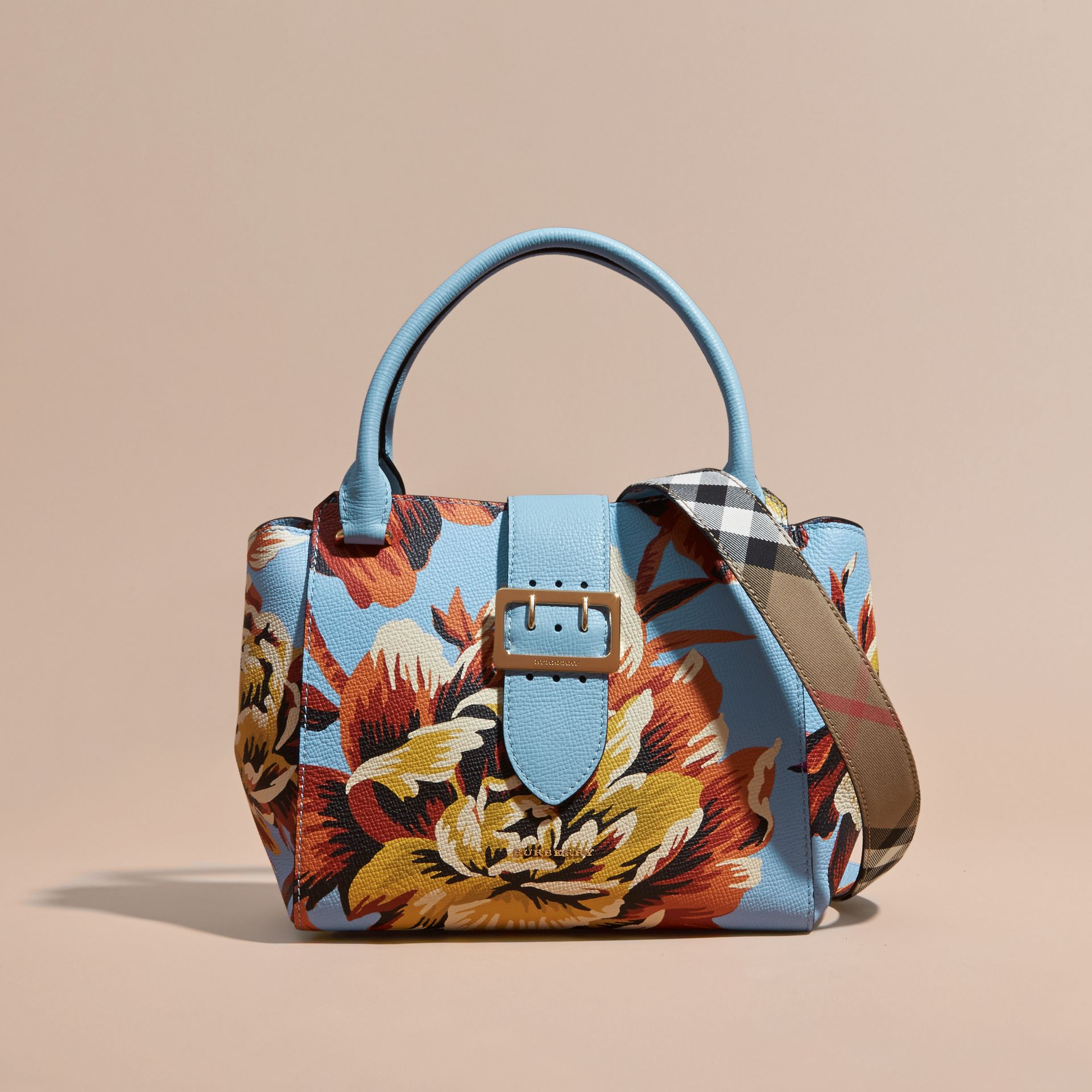 Pale blue/vibrant orange The Medium Buckle Tote in Peony Rose Print Leather Pale Blue/vibrant Orange - gallery image 9