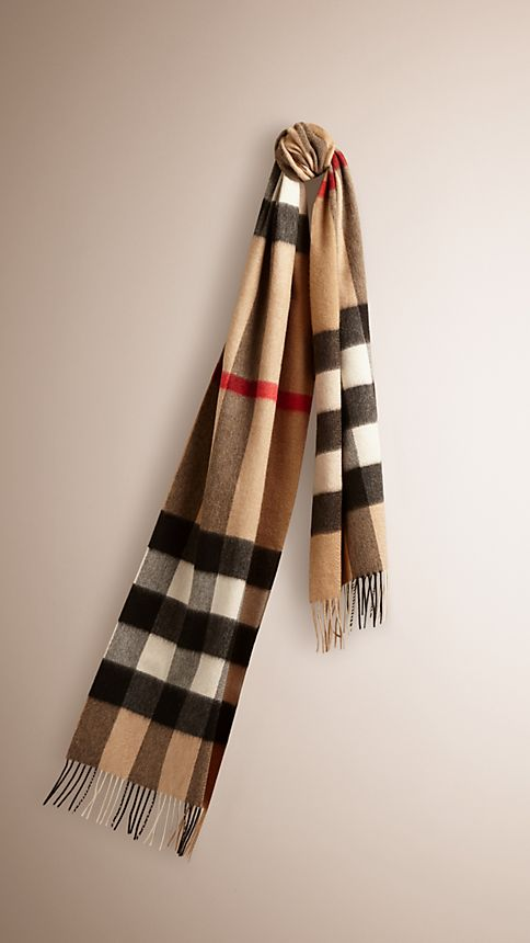 Camel check Giant Exploded Check Cashmere Scarf - Image 1