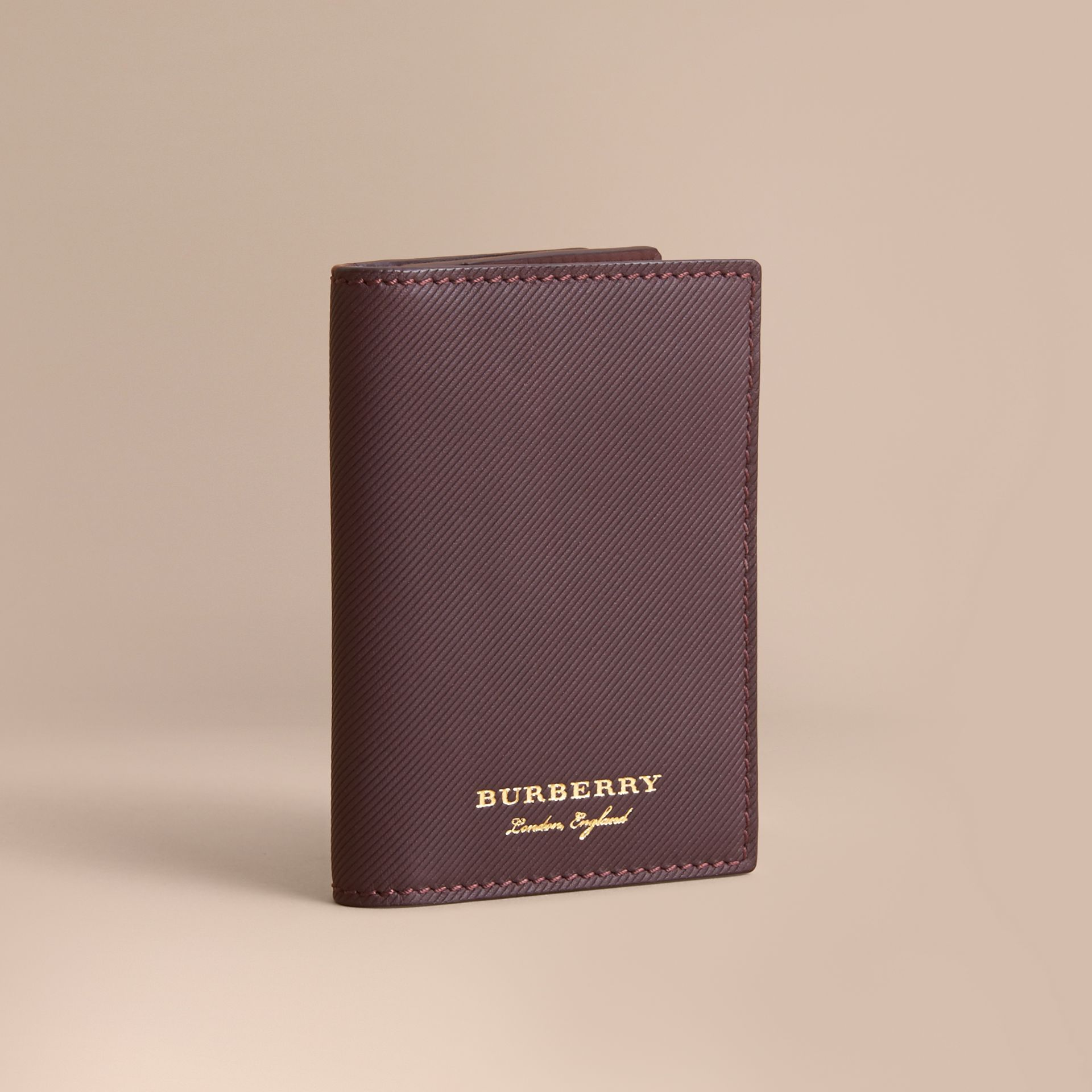 Trench Leather Folding Card Case in Wine - Men | Burberry United Kingdom - gallery image 1