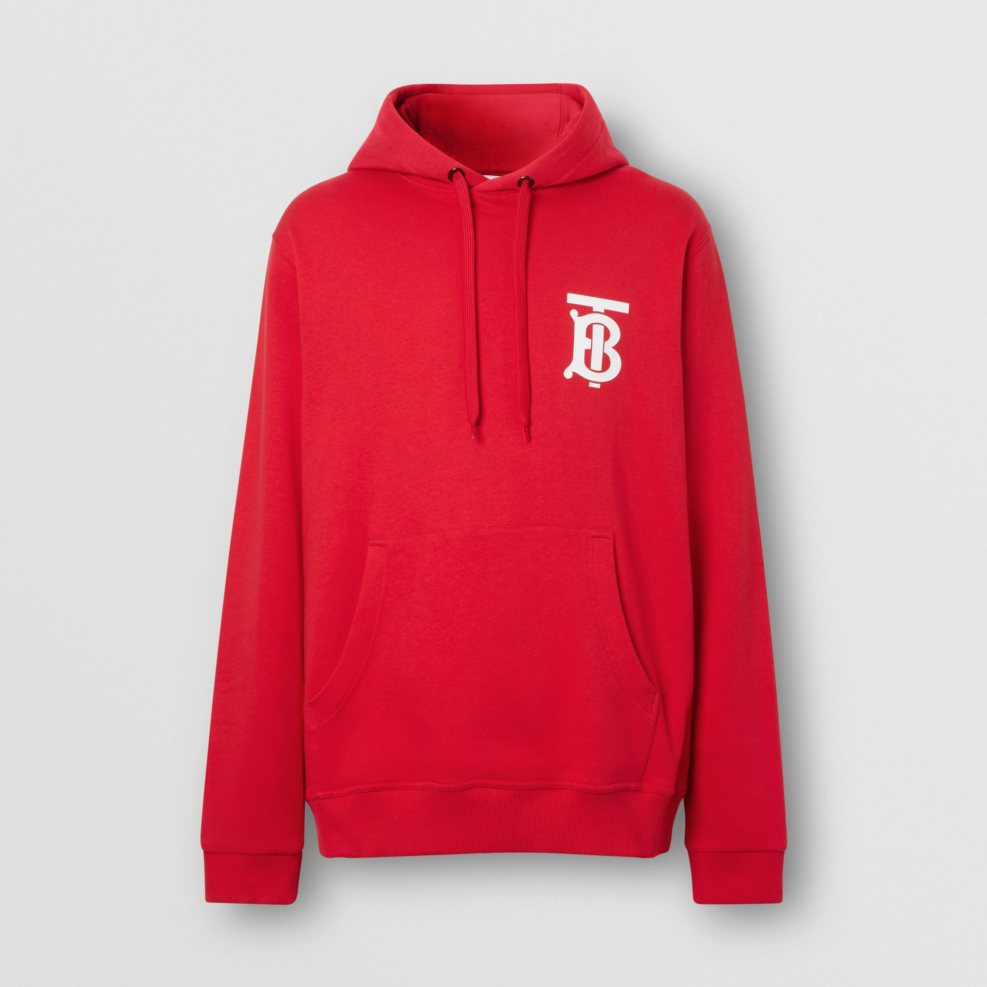 Monogram Motif Cotton Hoodie in Bright Red - Men | Burberry United Kingdom - gallery image 3
