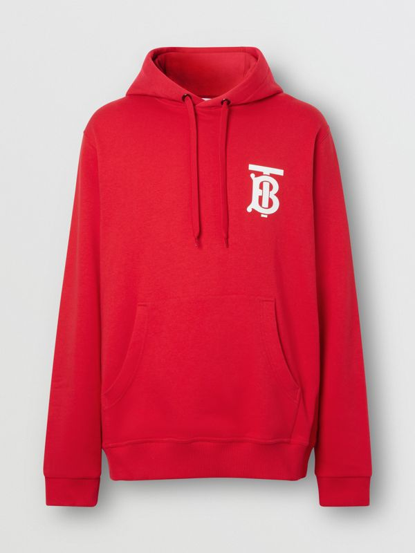 Monogram Motif Cotton Hoodie in Bright Red - Men | Burberry United Kingdom - cell image 3