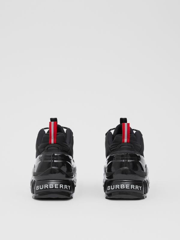 Nylon, Faux Nubuck and Mesh Arthur Sneakers in Black | Burberry - cell image 3