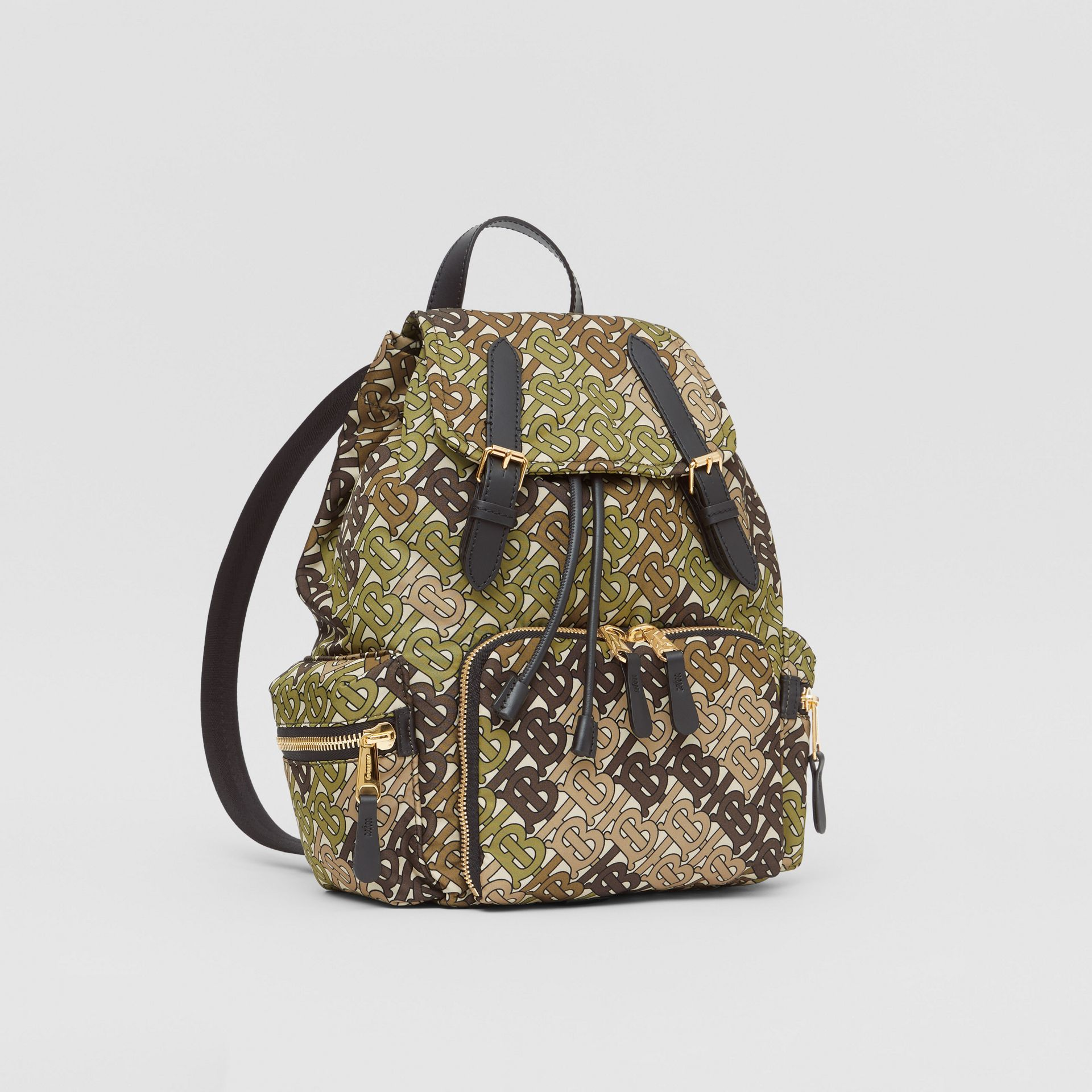 The Medium Rucksack in Monogram Print Nylon in Khaki Green - Women | Burberry - gallery image 6