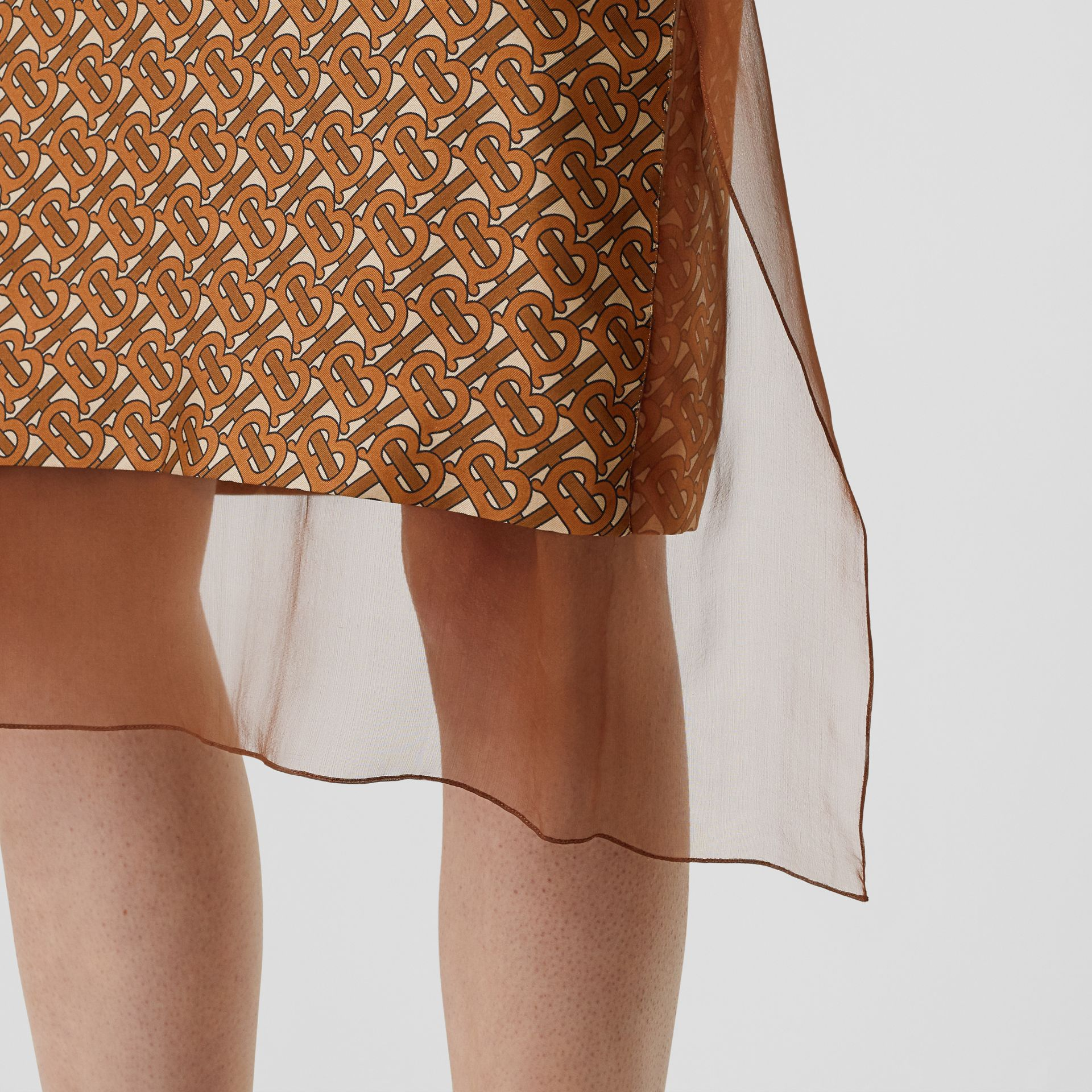 Scarf Detail Monogram Print Silk Pencil Skirt in Brown - Women | Burberry United Kingdom - gallery image 1