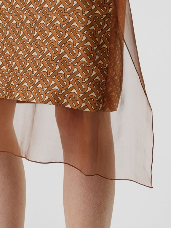 Scarf Detail Monogram Print Silk Pencil Skirt in Brown - Women | Burberry United Kingdom - cell image 1