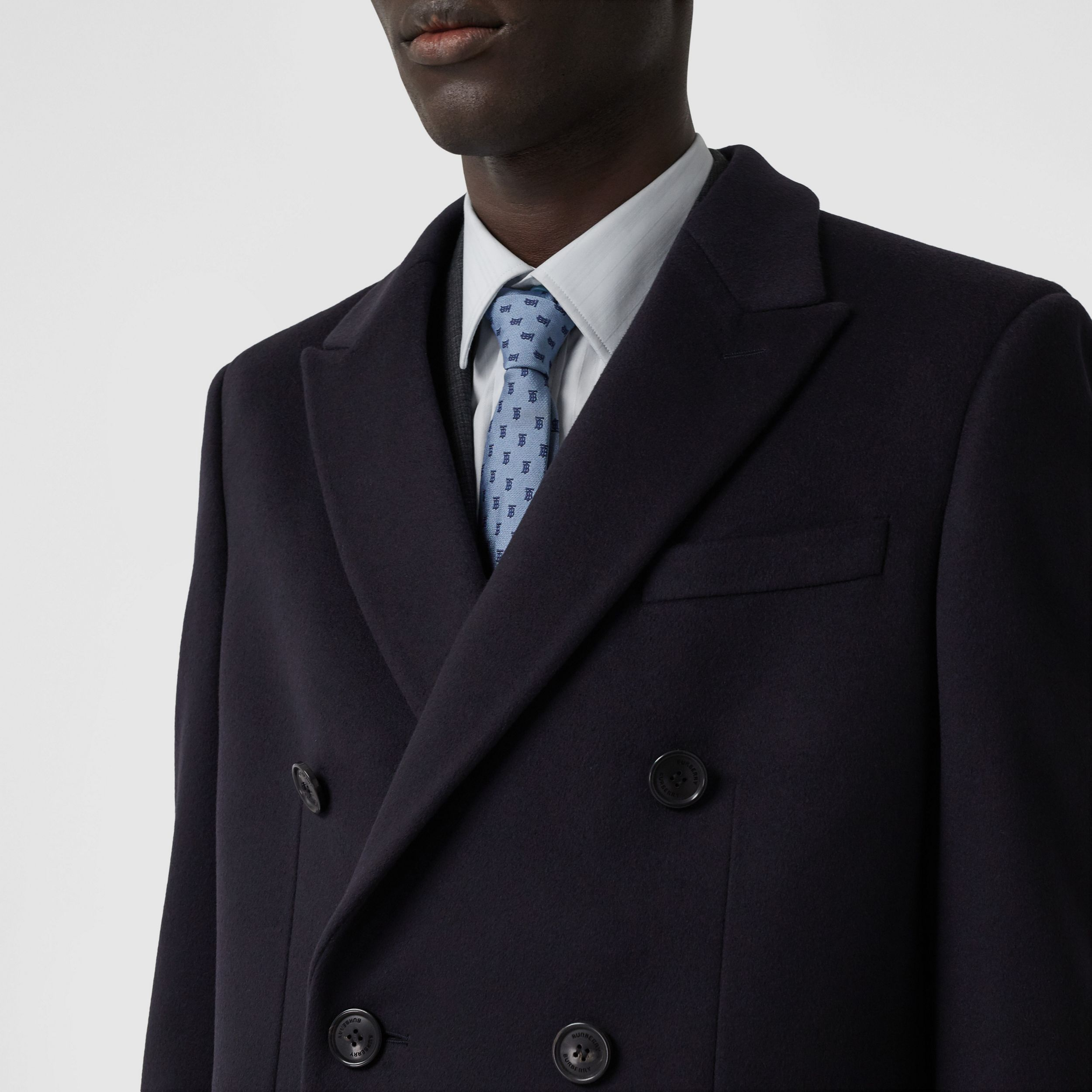 Wool Cashmere Tailored Coat in Navy - Men | Burberry - 2