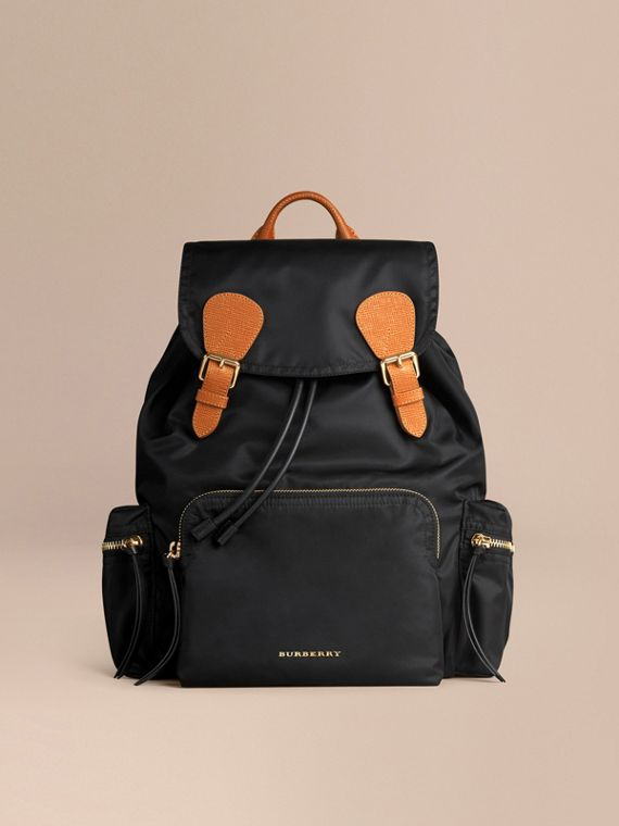 The Large Rucksack in Technical Nylon and Leather in Black - Women | Burberry