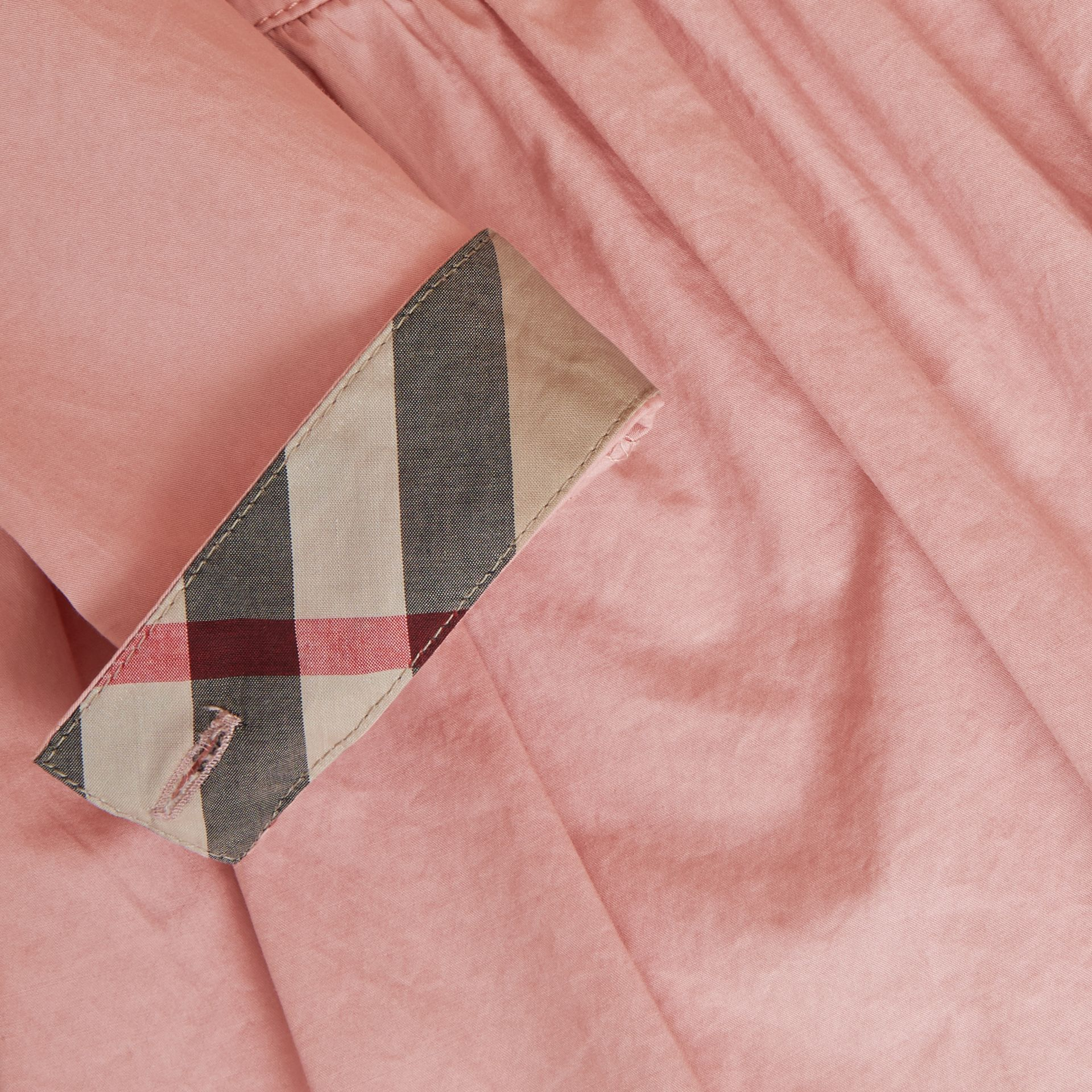 Check Detail Stretch Cotton Trench Dress in Pale Rose - Girl | Burberry - gallery image 2