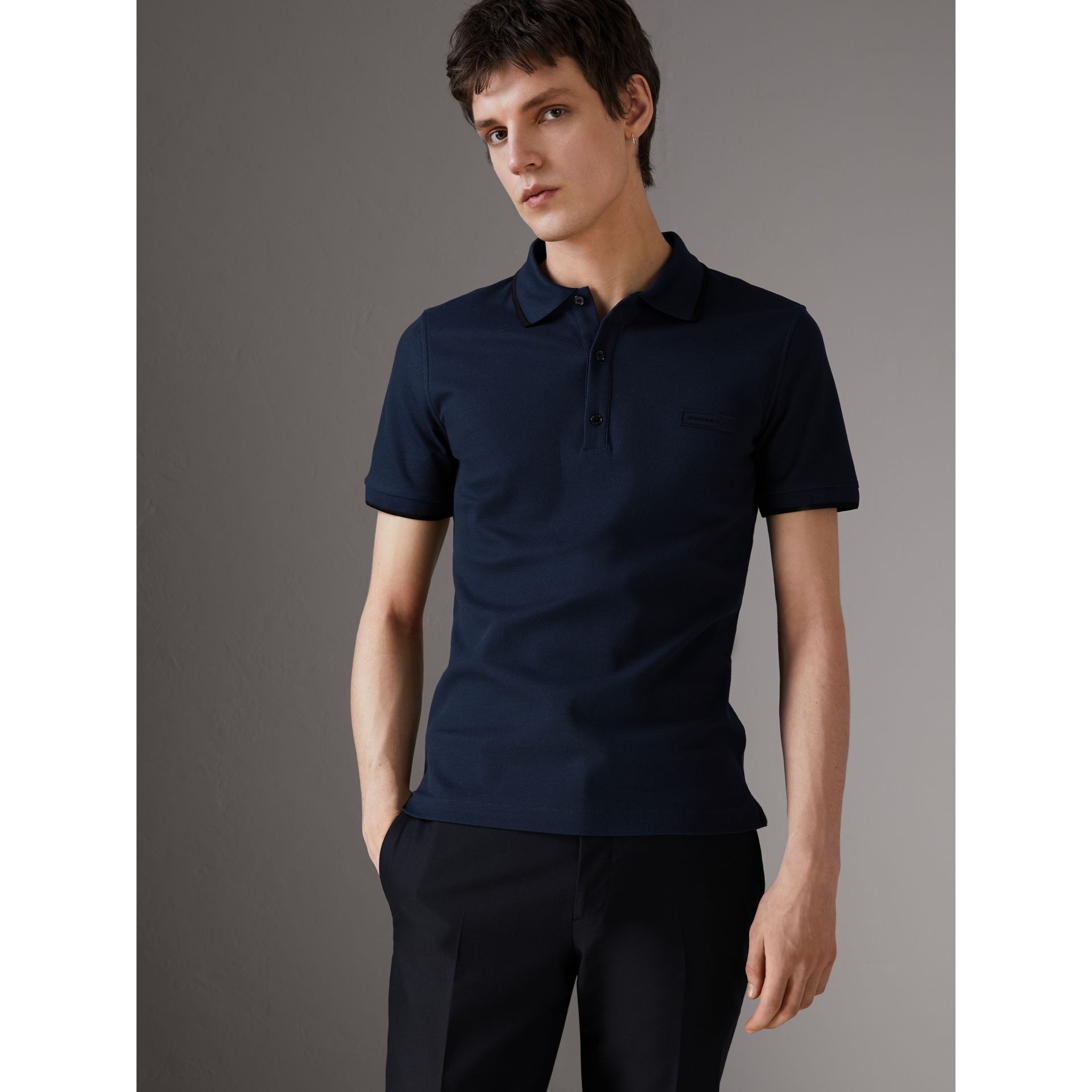 Cotton Piqué Polo Shirt in Navy - Men | Burberry Singapore - gallery image 0