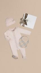 Check Cotton Three-piece Baby Gift Set