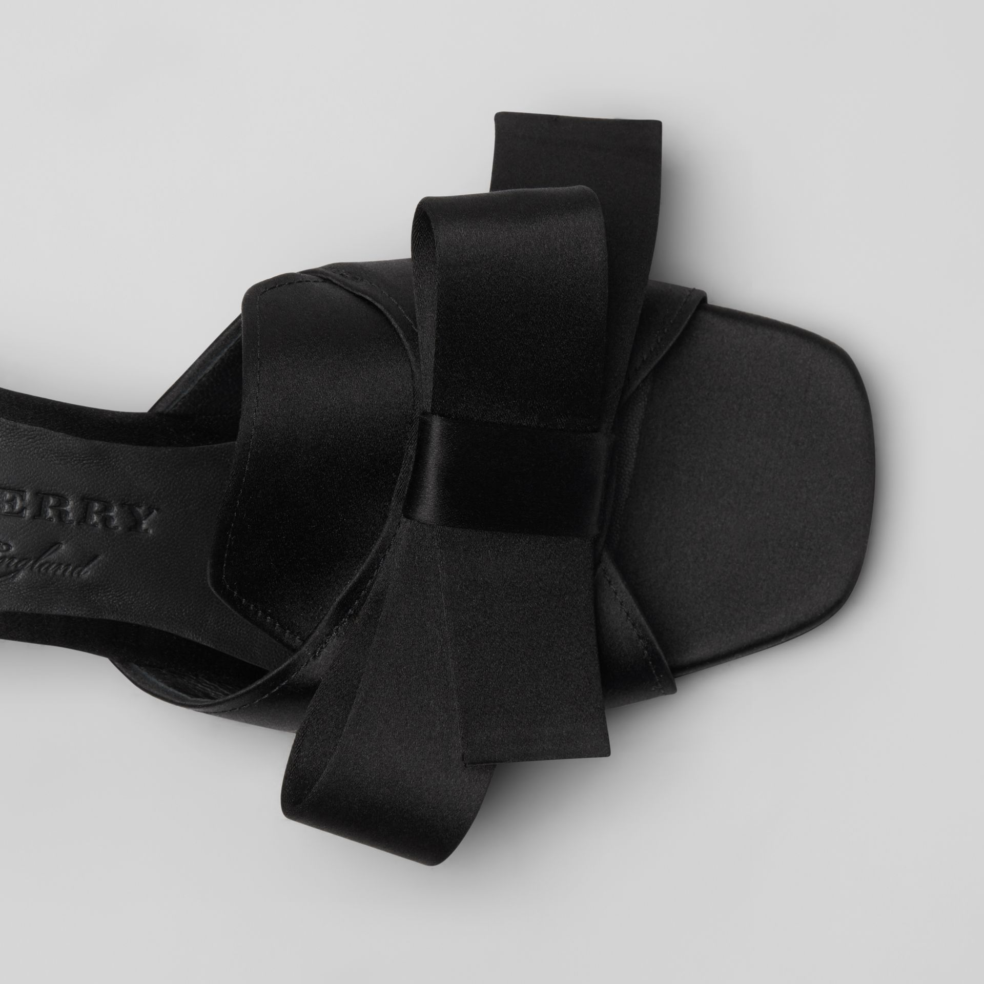 Bow Detail Satin Block-heel Mules in Black - Women | Burberry - gallery image 1