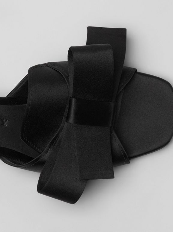 Bow Detail Satin Block-heel Mules in Black - Women | Burberry - cell image 1
