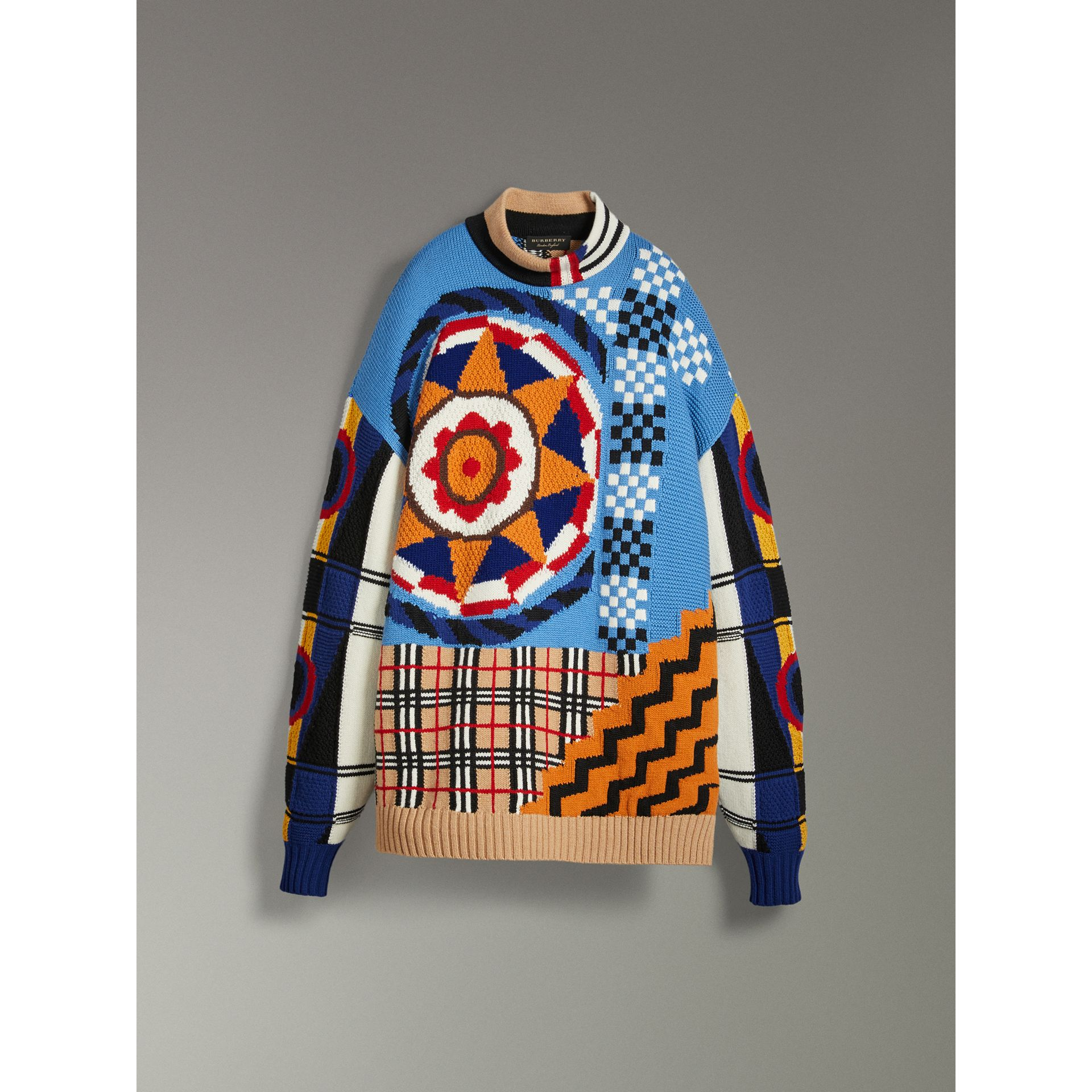 Wool Cashmere Cotton Graphic Intarsia Sweater in Multicolour | Burberry - gallery image 3