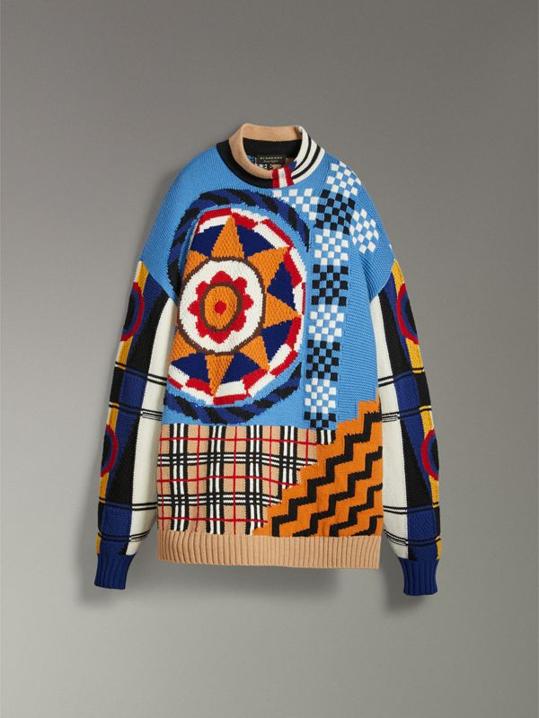 Wool Cashmere Cotton Graphic Intarsia Sweater in Multicolour | Burberry Canada - cell image 3