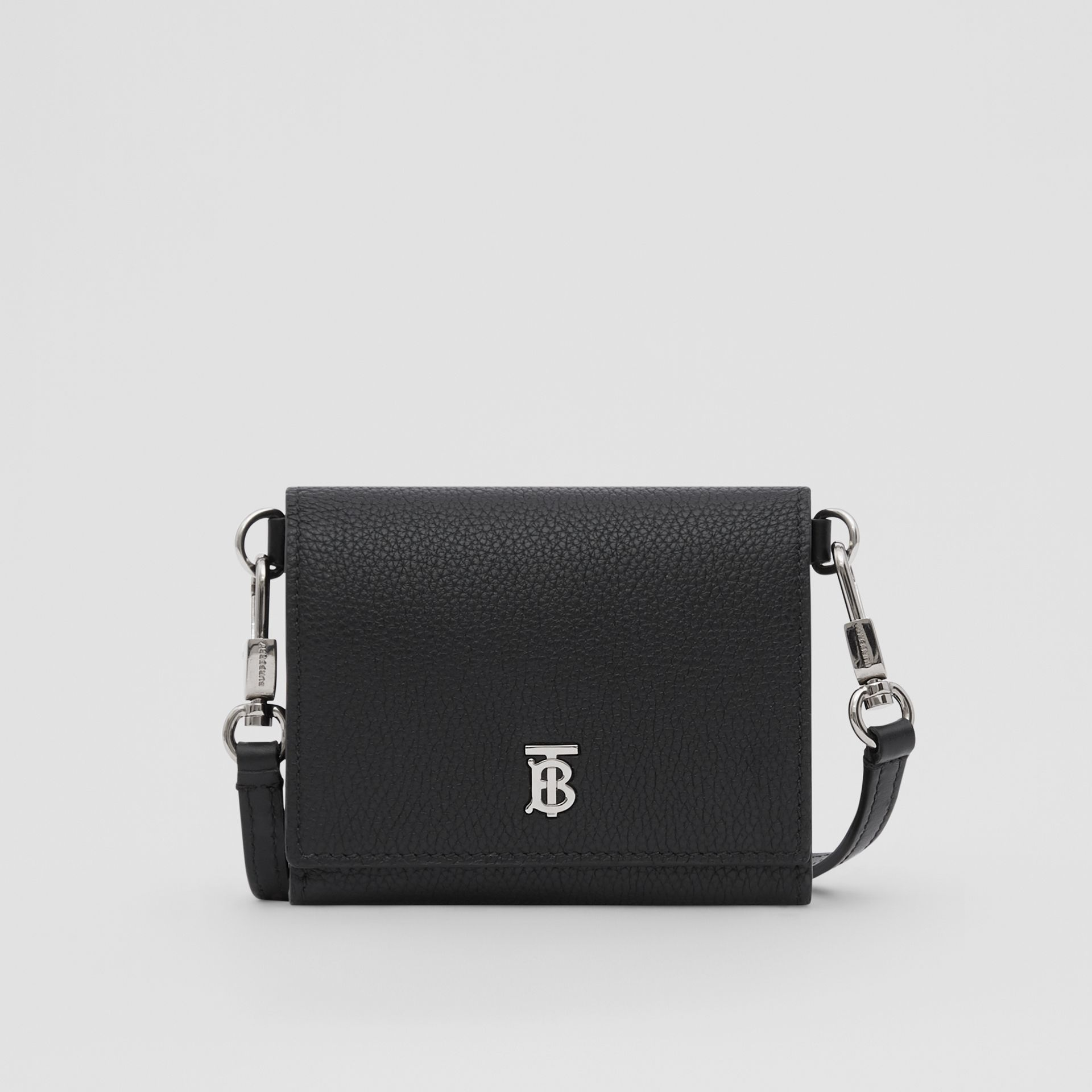 Small Grainy Leather Wallet with Detachable Strap in Black | Burberry United States - gallery image 0