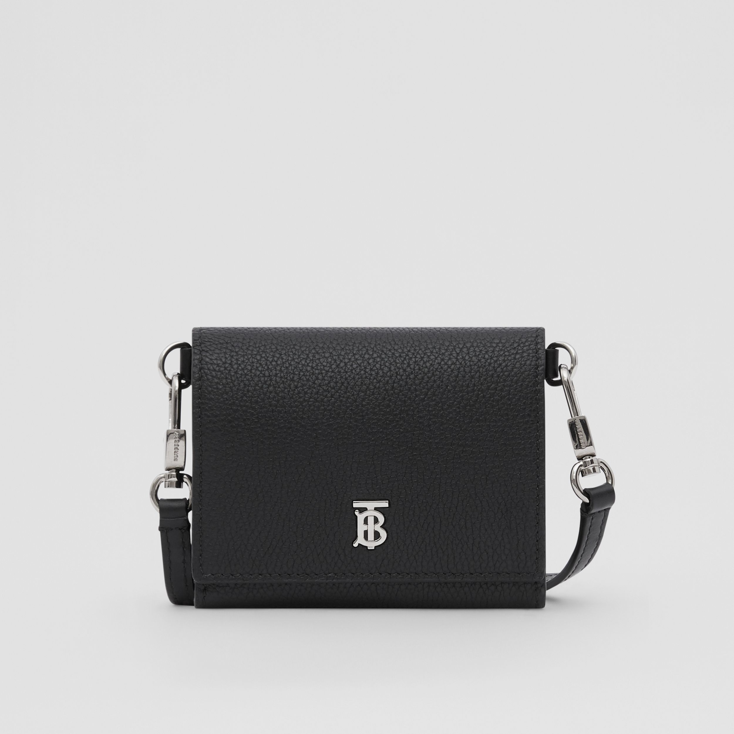 Small Grainy Leather Wallet with Detachable Strap in Black | Burberry - 1