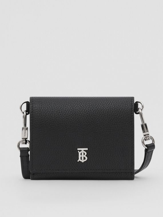 Small Grainy Leather Wallet with Detachable Strap in Black