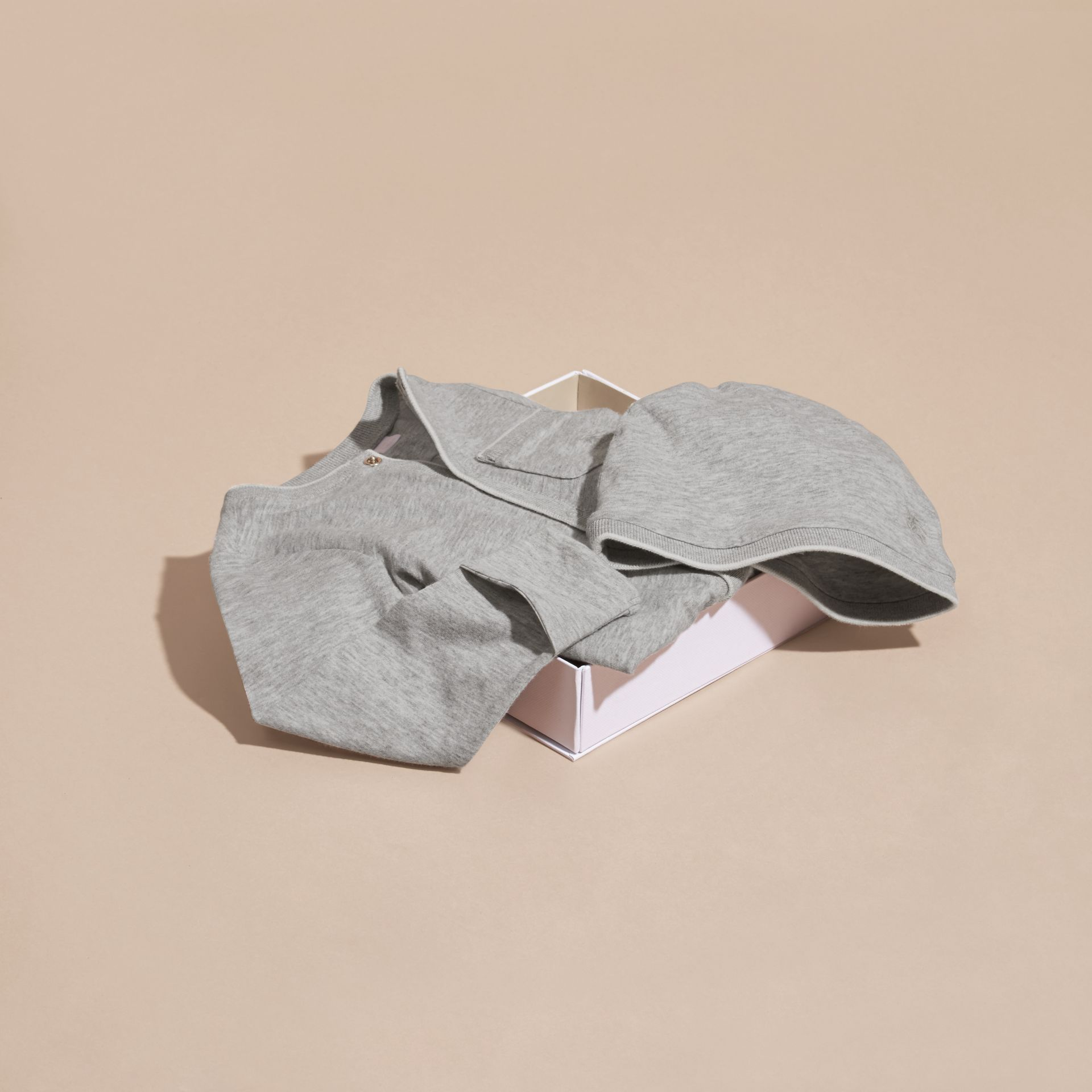 Grey melange Cotton Two-Piece Baby Gift Set - gallery image 4