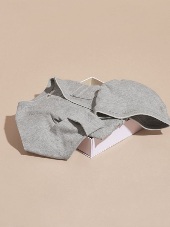 Grey melange Cotton Two-Piece Baby Gift Set - cell image 3