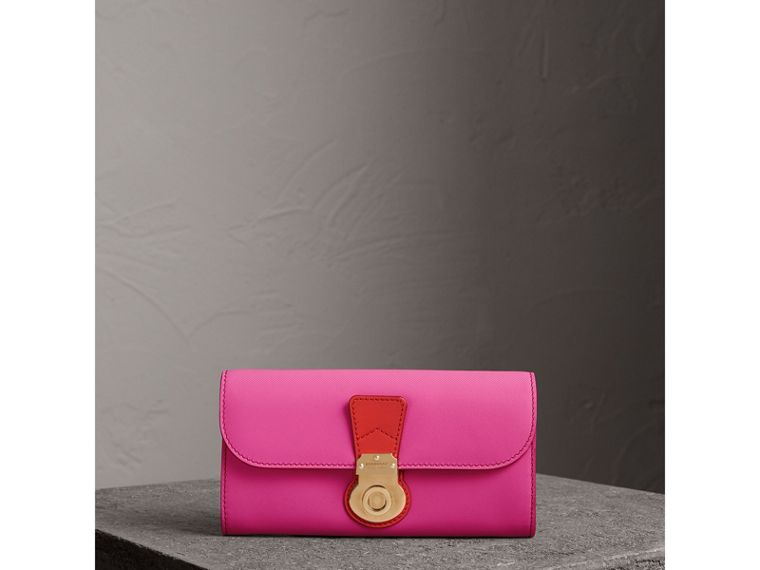 Two-tone Trench Leather Continental Wallet in Rose Pink/orange Red - Women | Burberry - cell image 4