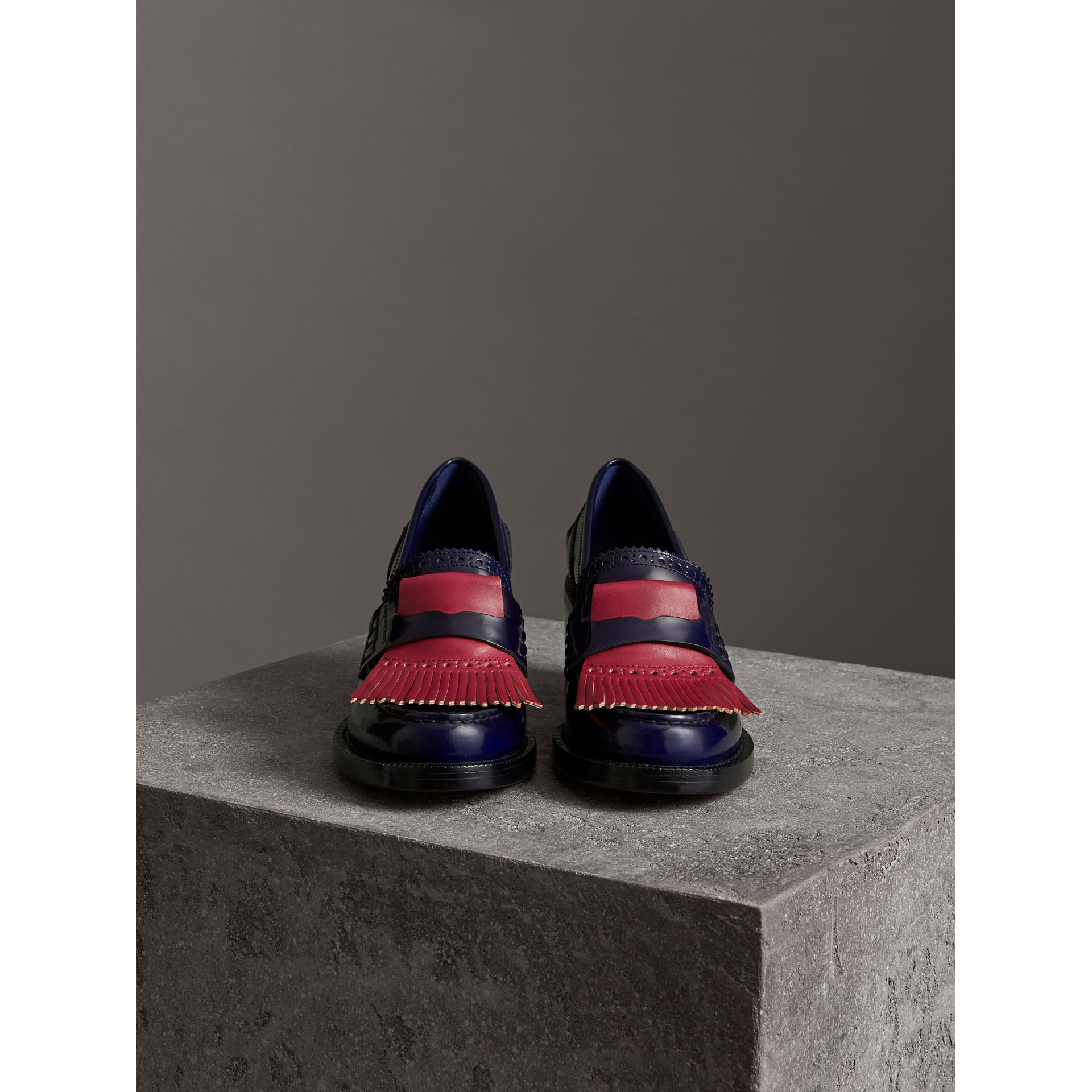 Contrast Kiltie Fringe Leather Block-heel Loafers in Navy - Women | Burberry Canada - gallery image 4