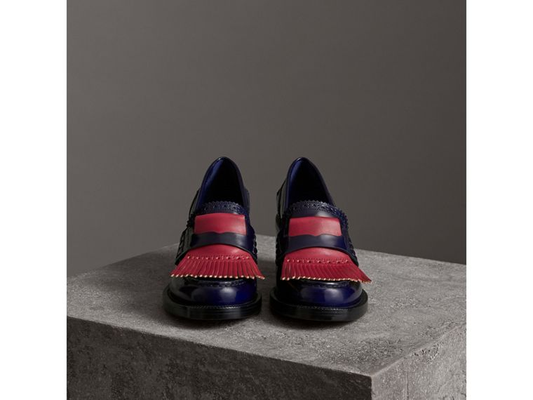 Contrast Kiltie Fringe Leather Block-heel Loafers in Navy - Women | Burberry Canada - cell image 4