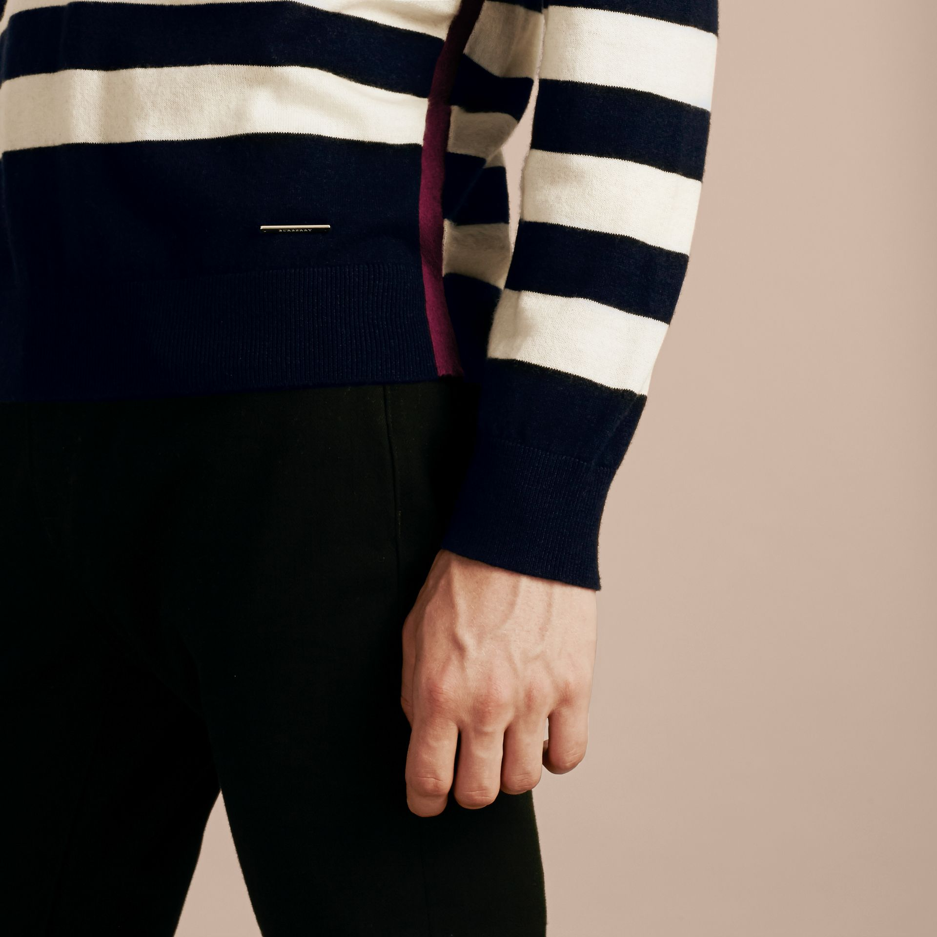 Striped Cashmere Cotton Sweater Navy - gallery image 5