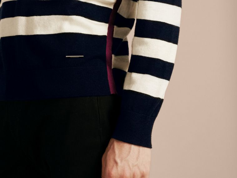 Striped Cashmere Cotton Sweater Navy - cell image 4