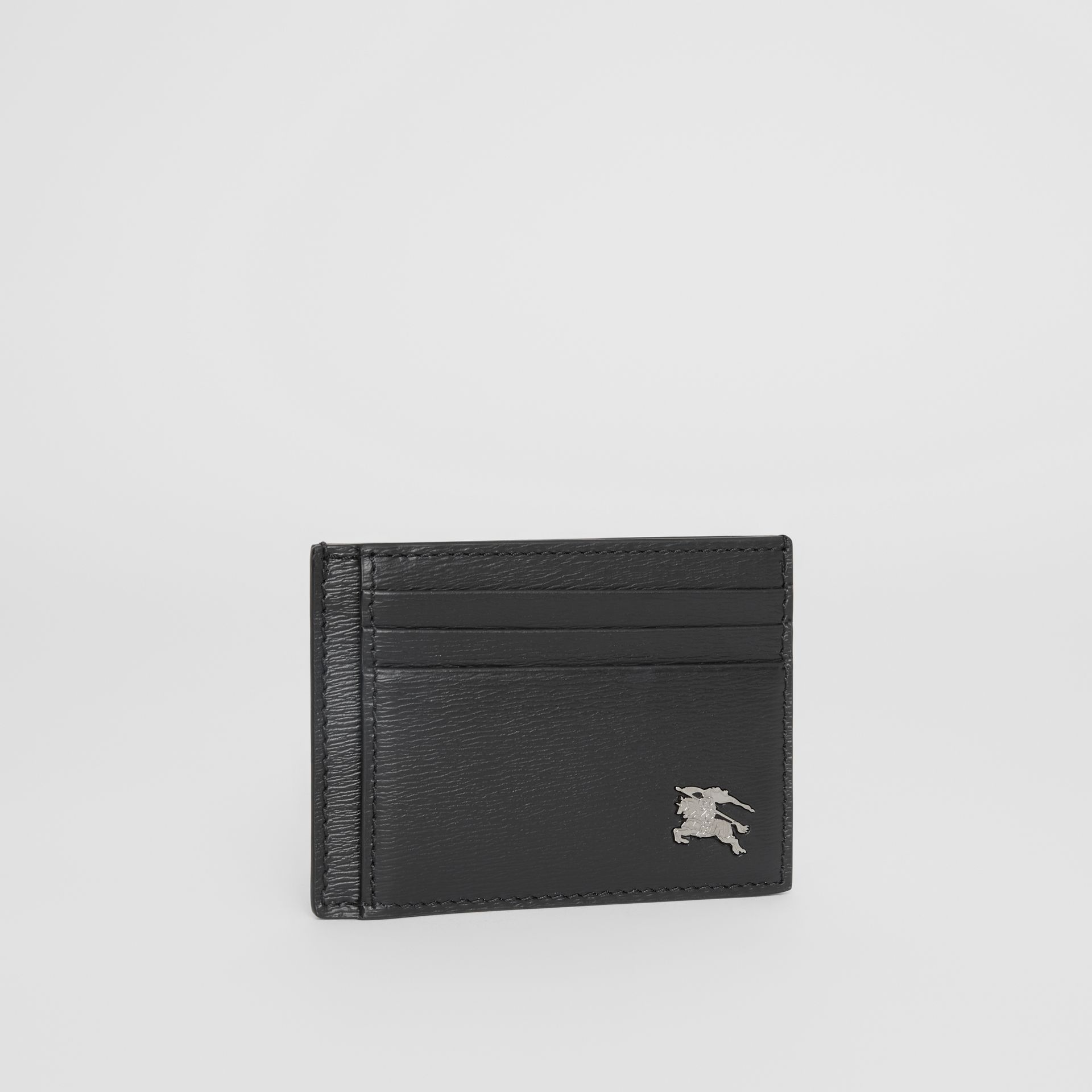 London Leather Money Clip Card Case in Black - Men | Burberry - gallery image 3