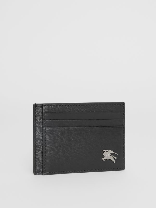 London Leather Money Clip Card Case in Black - Men | Burberry United States - cell image 3