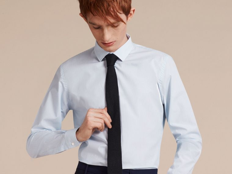 Slim Fit Striped Cotton Poplin Shirt in City Blue - cell image 4