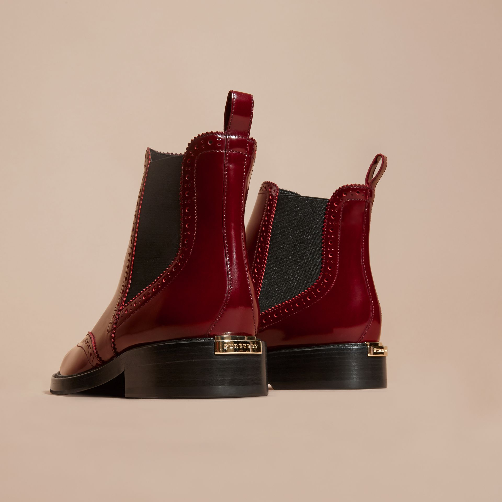 Rouge acajou Bottines Chelsea en cuir avec bout golf Rouge Acajou - photo de la galerie 4