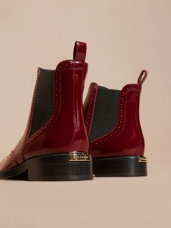 Mahogany red Leather Wingtip Chelsea Boots - cell image 3