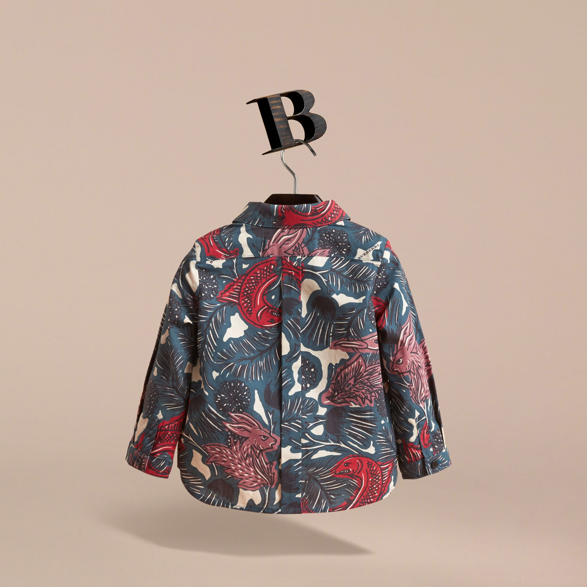 Beasts Print Cotton Shirt in Mineral Blue | Burberry - gallery image 4