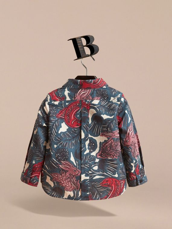 Beasts Print Cotton Shirt in Mineral Blue | Burberry - cell image 3