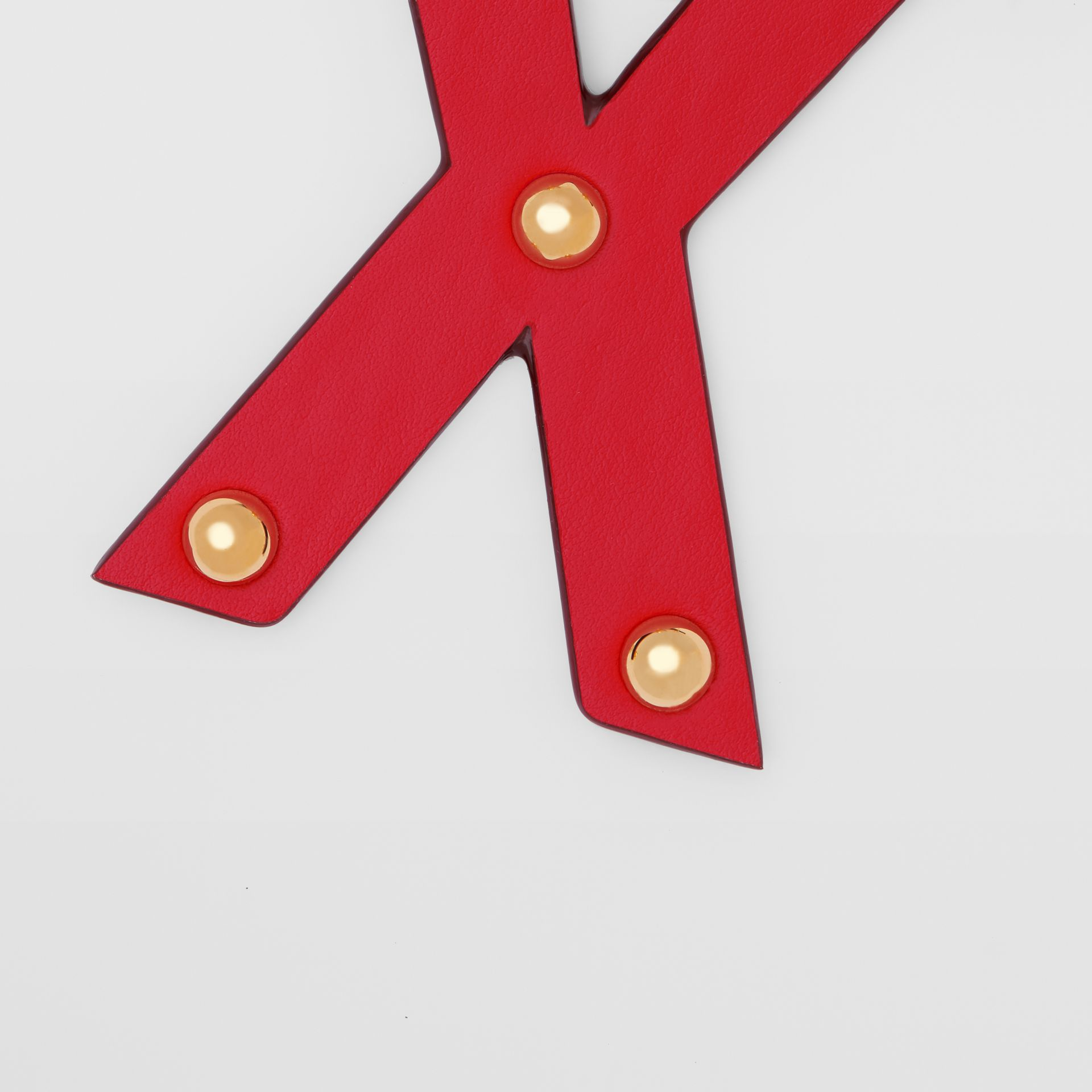 'X' Studded Leather Alphabet Charm in Red/light Gold - Women | Burberry - gallery image 1