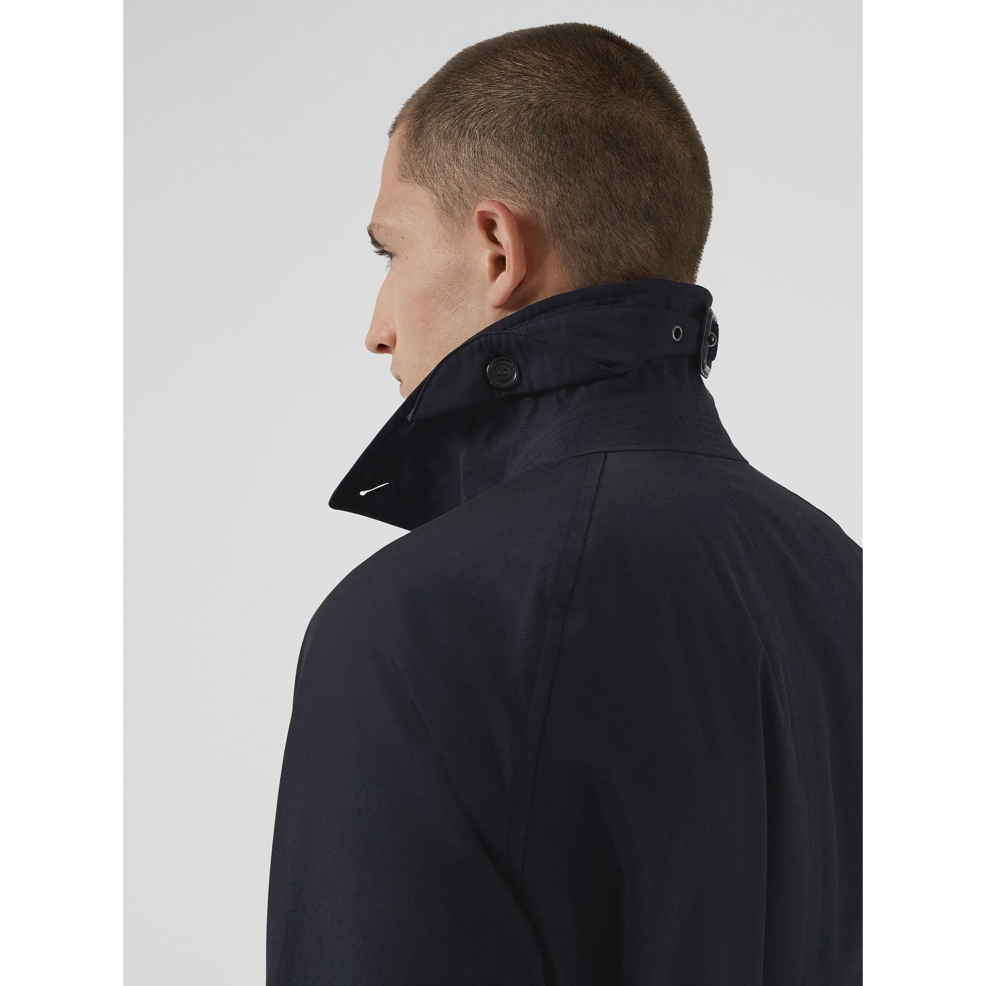 Quilt-lined Tropical Gabardine Belted Car Coat in Blue Carbon - Men | Burberry Canada - gallery image 5