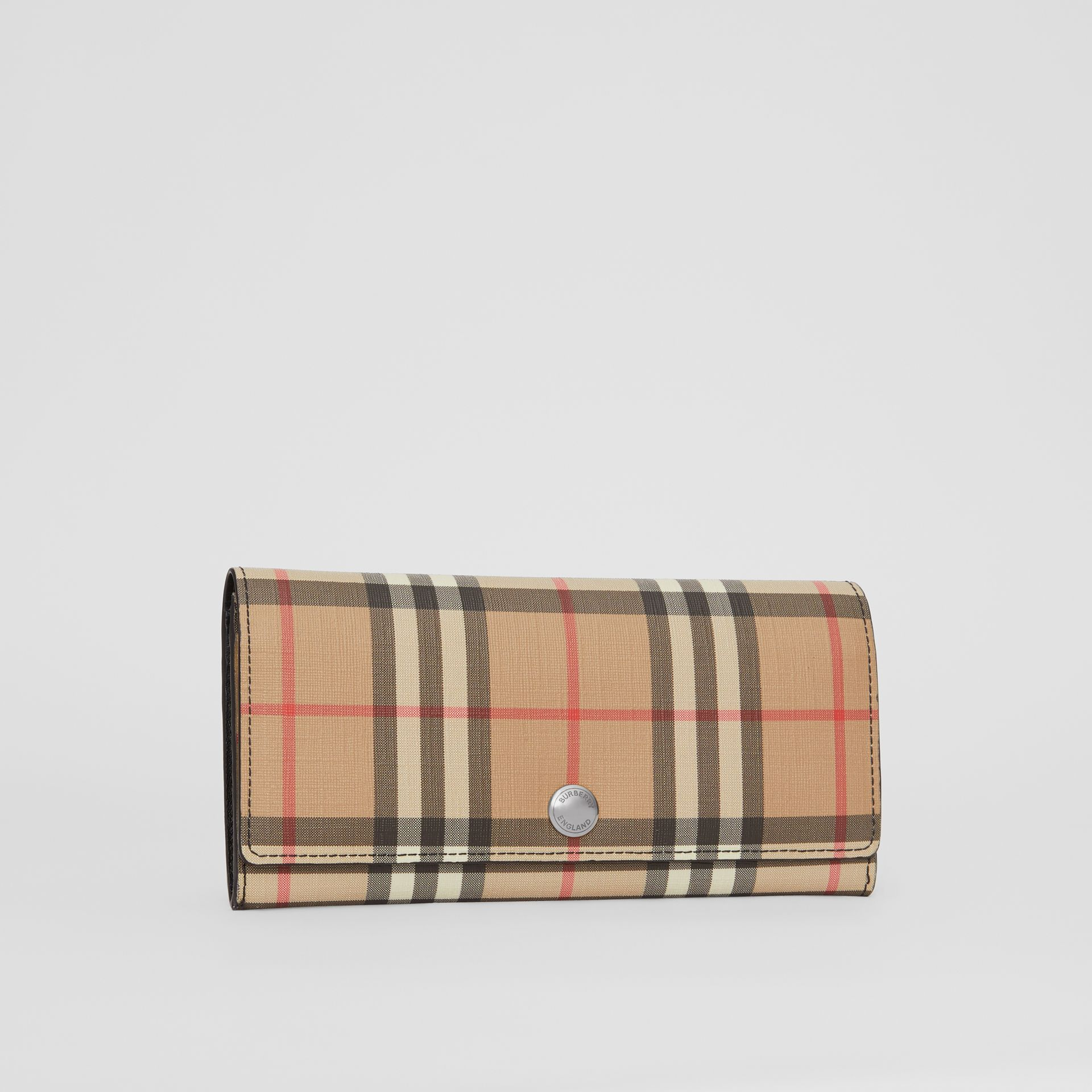 Vintage Check E-canvas Continental Wallet in Black - Women | Burberry - gallery image 4