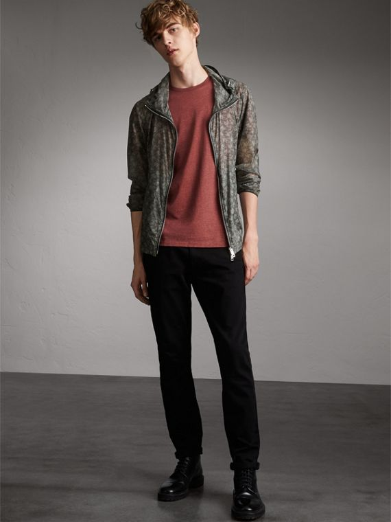 Leaf Pattern Hooded Ultra-lightweight Jacket - Men | Burberry Singapore
