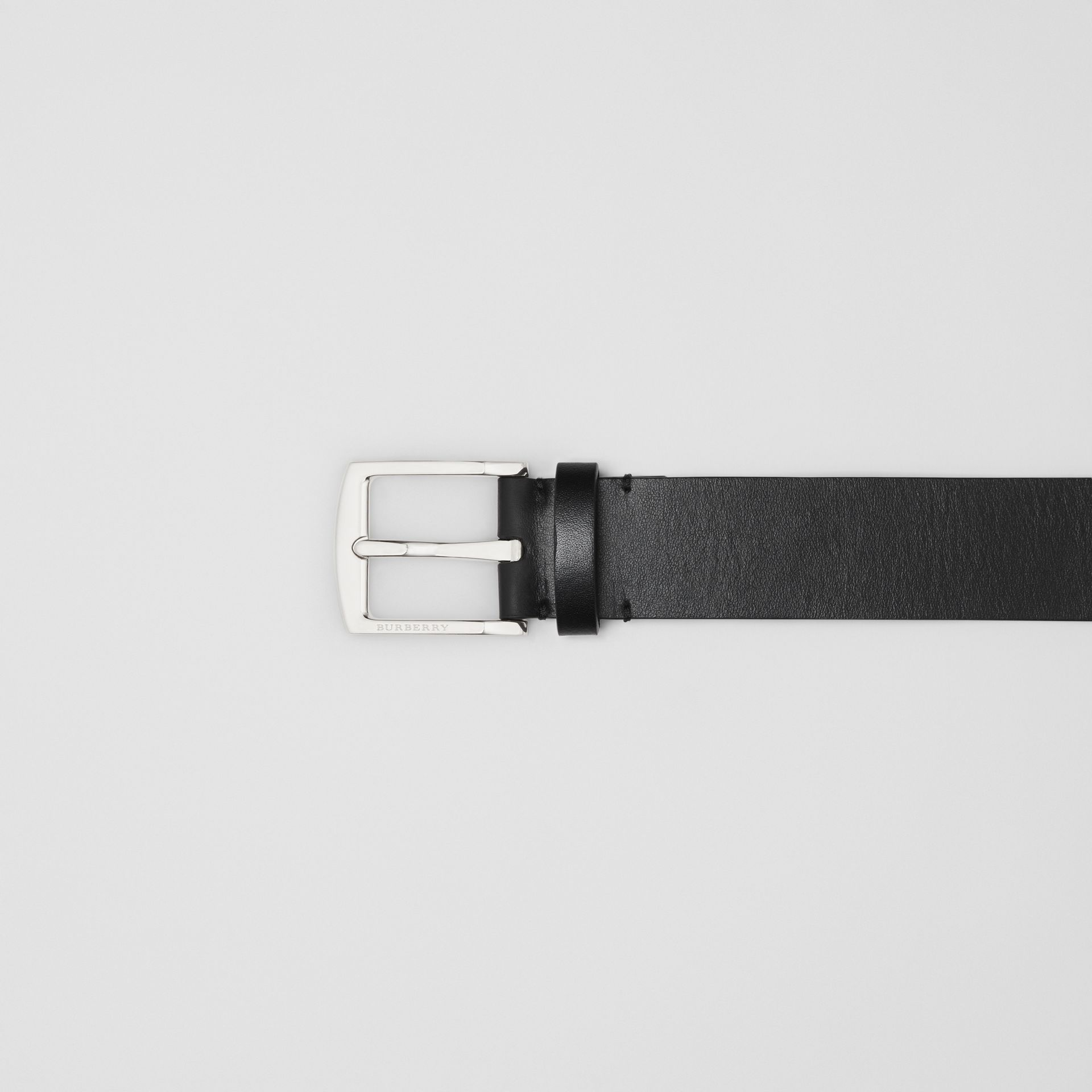 Kingdom Print Leather Belt in Black - Men | Burberry United Kingdom - gallery image 1