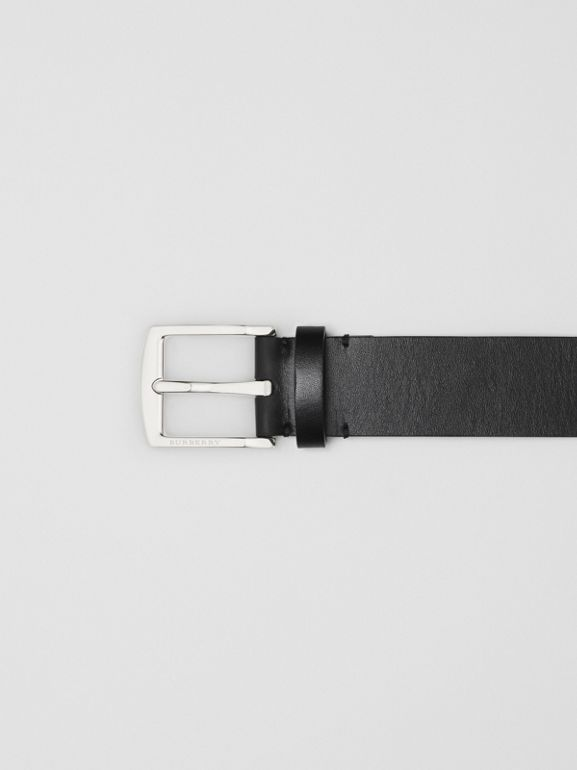 Kingdom Print Leather Belt in Black - Men | Burberry United Kingdom - cell image 1