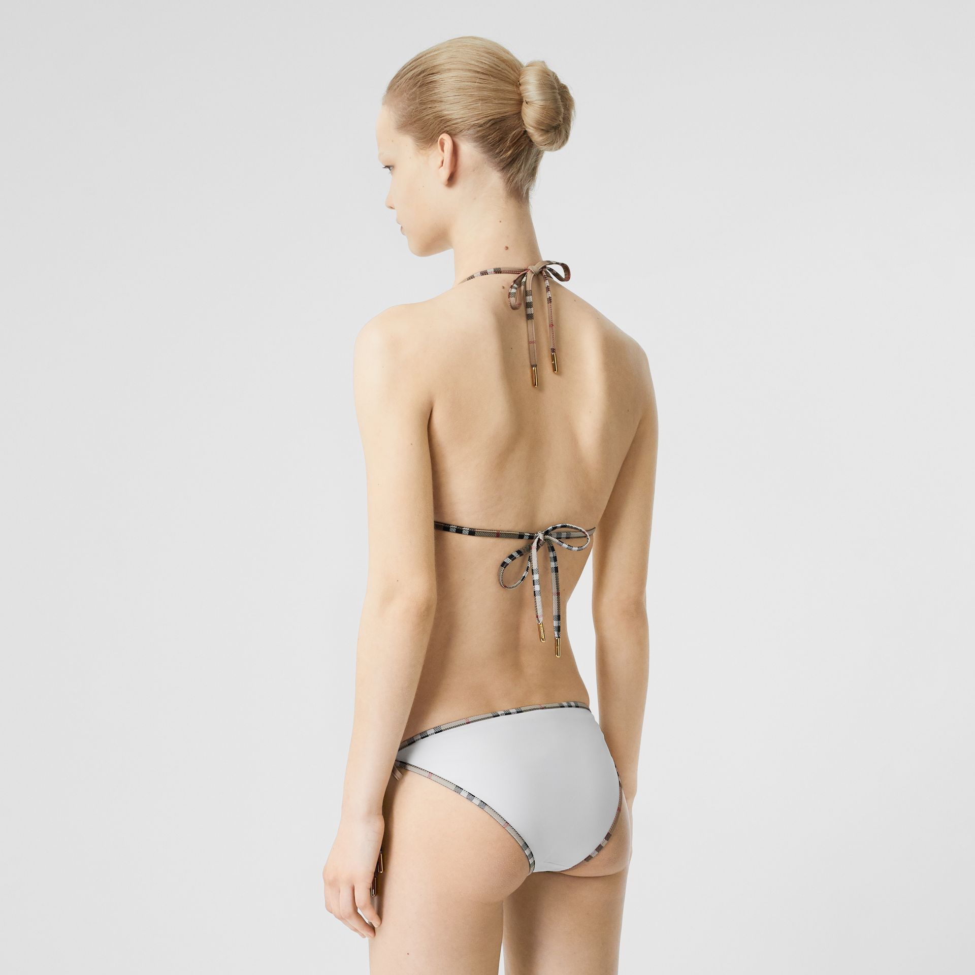 Vintage Check Detail Triangle Bikini in White | Burberry - gallery image 1