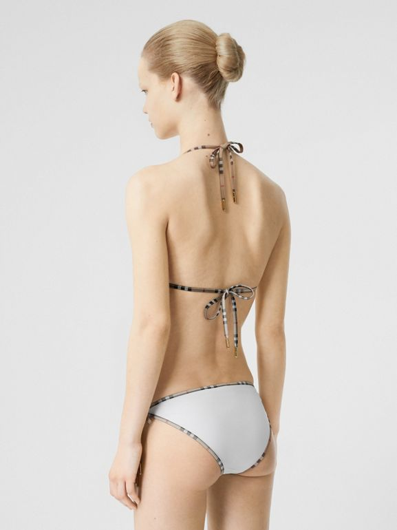 Vintage Check Detail Triangle Bikini in White | Burberry - cell image 1