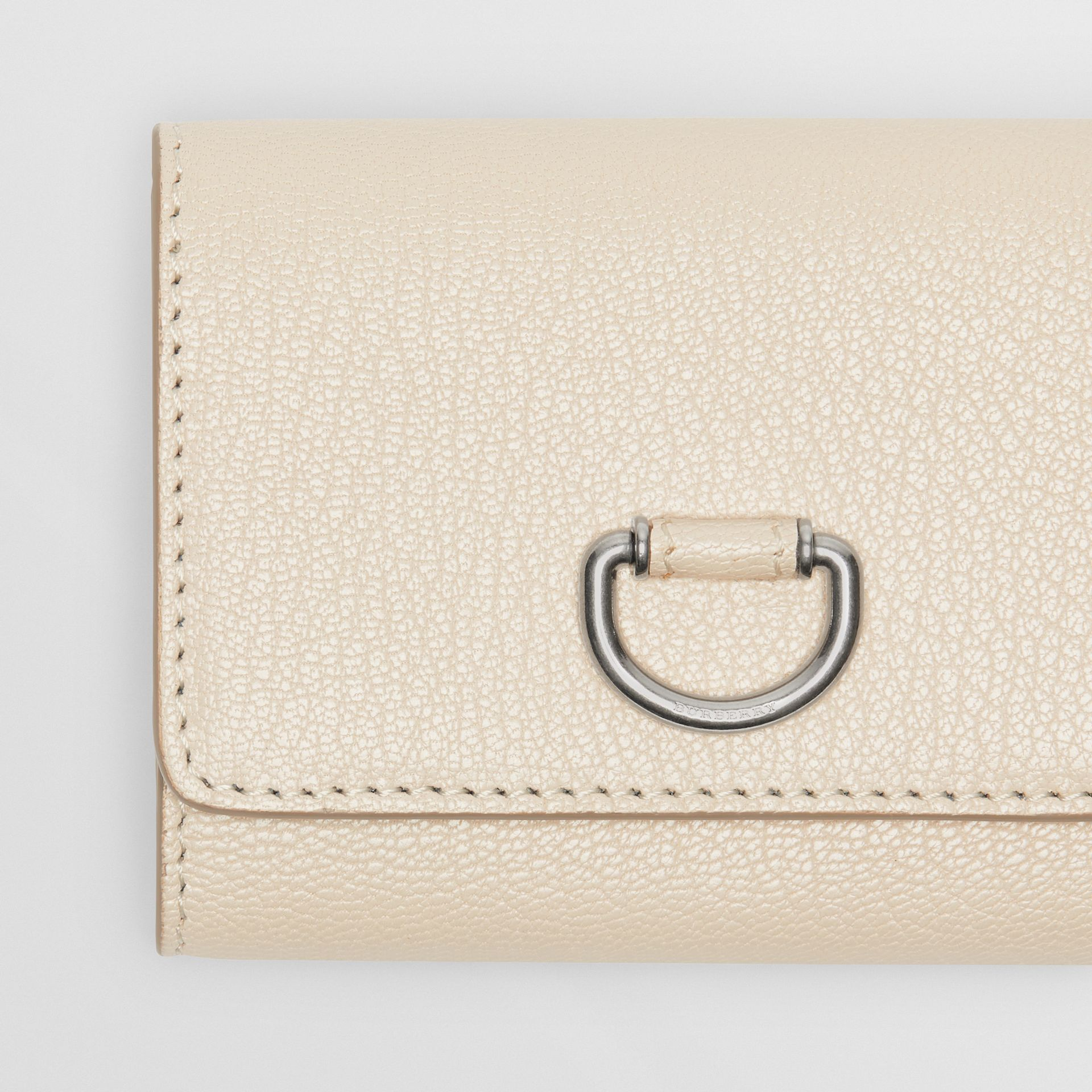 Small D-ring Leather Wallet in Stone - Women | Burberry - gallery image 1