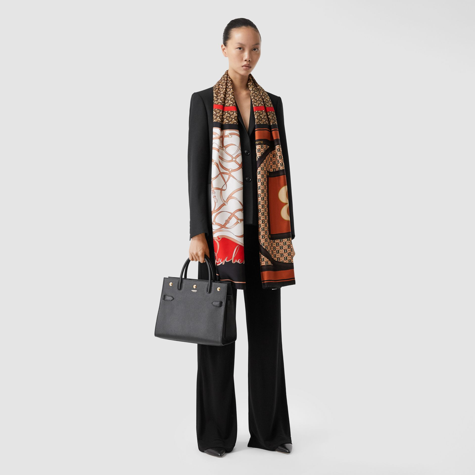 Montage Print Silk Scarf in Bridle Brown | Burberry - gallery image 6