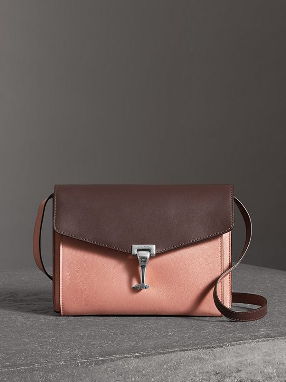 Two-tone Leather Crossbody Bag in Dusty Rose/deep Claret