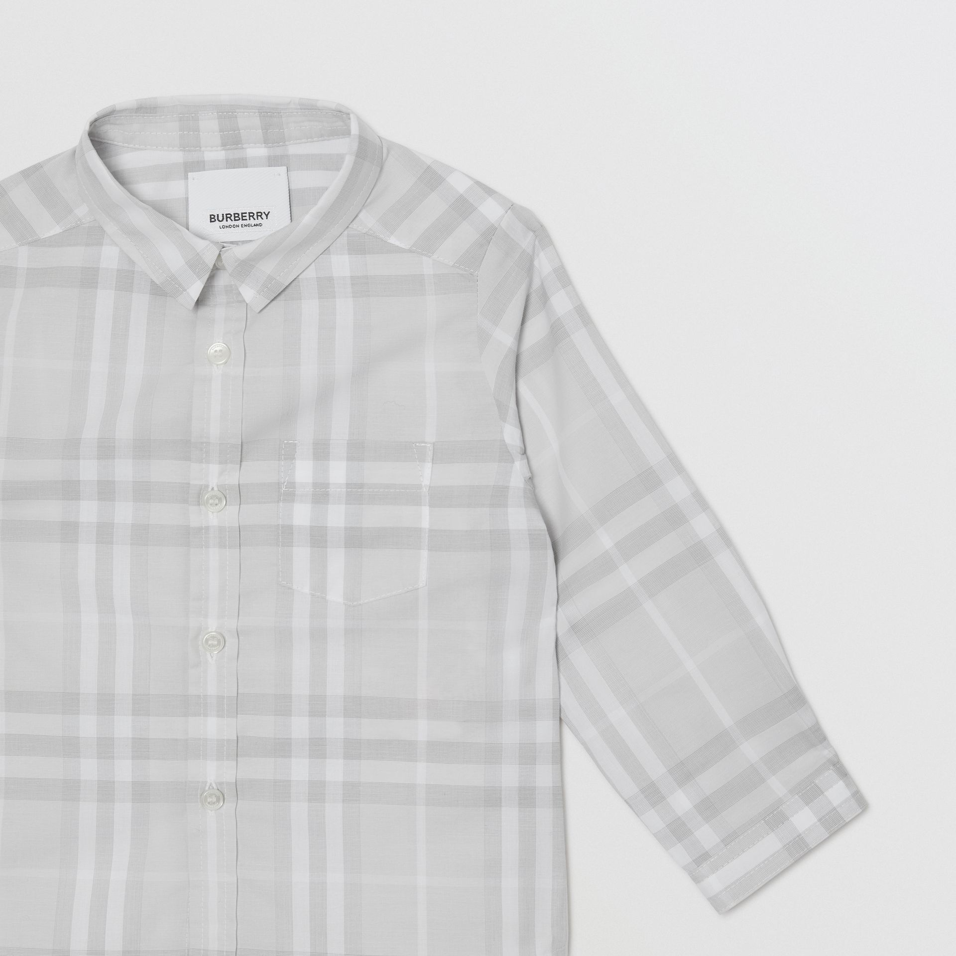 Vintage Check Cotton Shirt in Pale Grey - Children | Burberry - gallery image 4